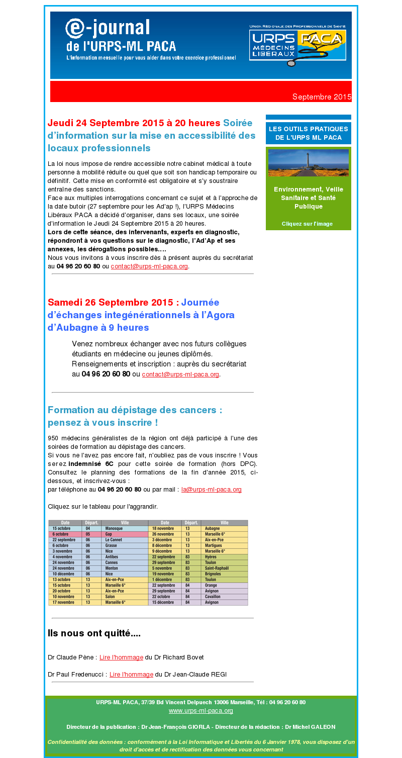 E-journal – Septembre 2015